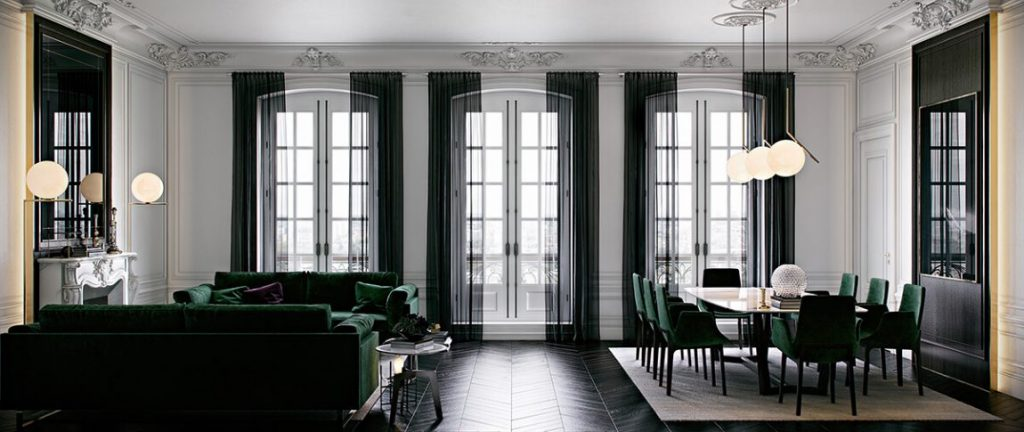 d coration un appartement de paris en vert meraude holborn. Black Bedroom Furniture Sets. Home Design Ideas