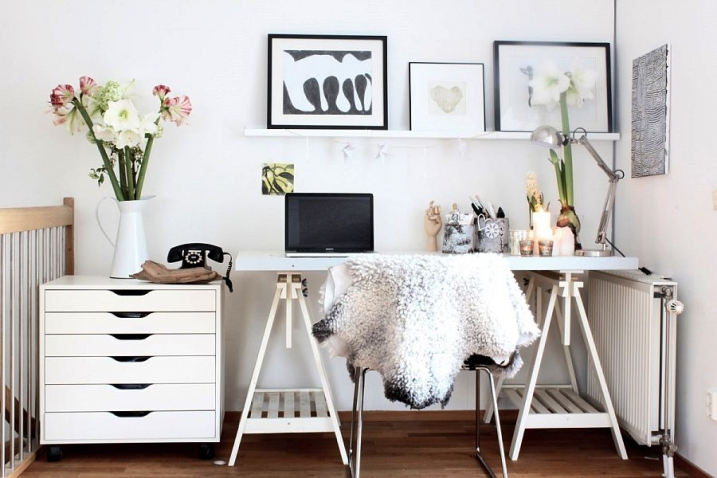 Décoration scandinave un coin bureau en noir et blanc holborn